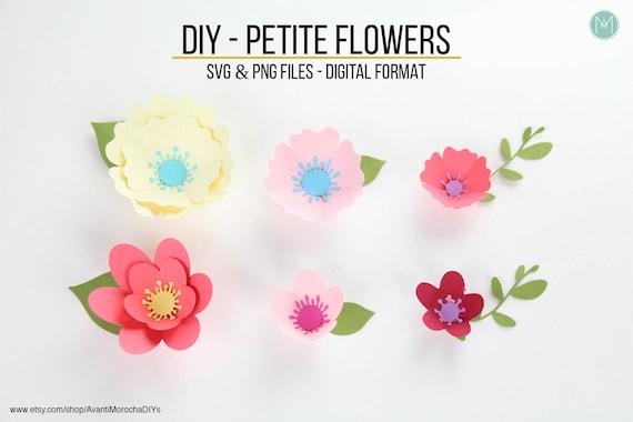 Diy Petite Paper Flowers Svg And Png Files Digital Format Etsy