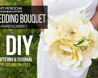 Paper Flowers Bouquet - Patterns & Tutorial | PDF - SVG - PNG files