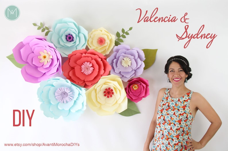 Diy Giant Paper Flower Patterns Video Tutorial Valencia And Sydney Pdf Svg Png