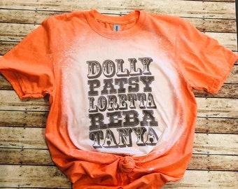 Dolly Patsy Loretta Reba Tanya Bleached Shirt / Bleached Tee / T-Shirt / Vintage Distressed Tee / Unisex Short Sleeve T-Shirt