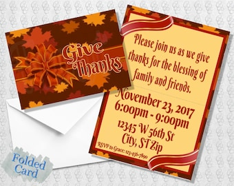 Thanksgiving Give Thanks Invitation; Friends-Giving; Friendsgiving; Fall Leaves; Printed; Folded; Postcard; E-Card; Digital; Shipped