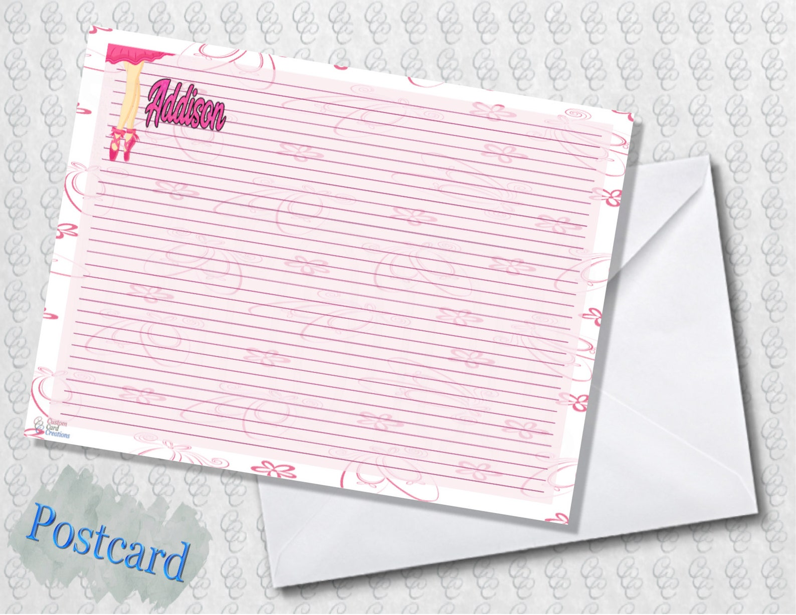 ballet slippers note cards; lined; folded card; postcard; pdf; e-card