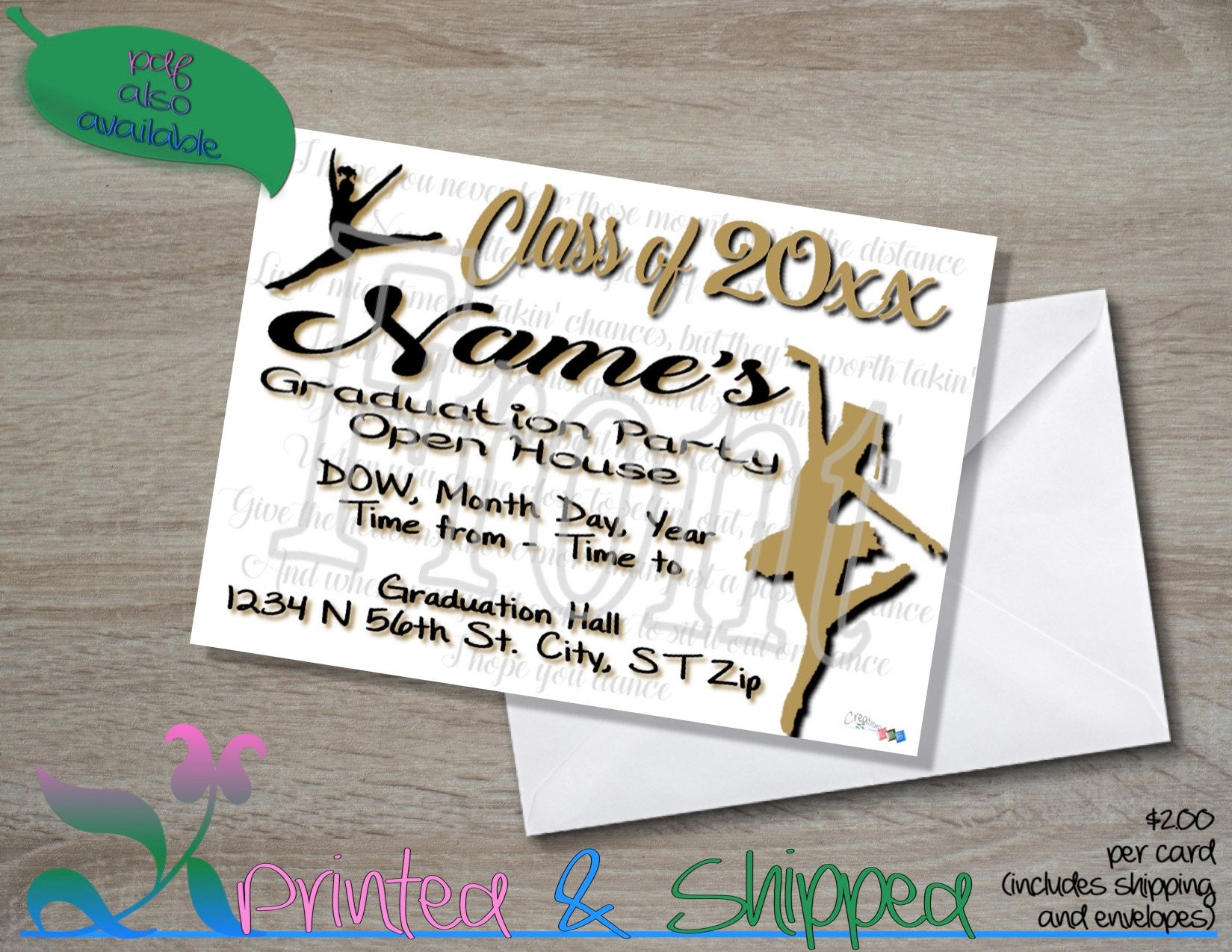 Dancer graduation invitation folded card postcard pdf e card filmwisefo