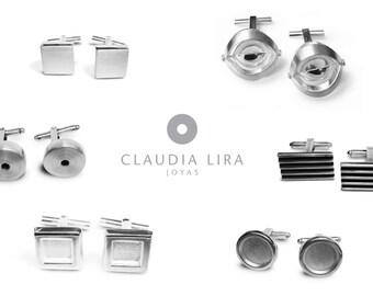 Sterling Silver Cufflinks, Modern Cuff Links, Geometric, Unique Finishes, Handmade in Peru