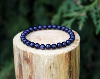 Blue Goldstone Bracelet, Goldstone Bracelet, Blue Bracelet, Beaded Bracelet, Gemstone Bracelet, Yoga bracelet, Men's/Women's Bracelet