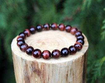 Red Tiger Eye Bracelet, Tiger Eye Bracelet, Red Bead Bracelet, Yoga Bracelet, Gemstone Bracelet, Beaded Bracelet, Men's/ Women's Bracelet
