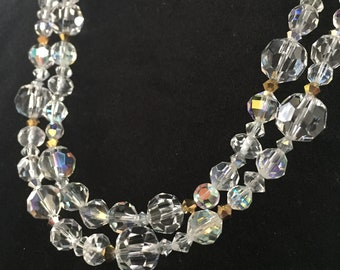 Double Strand Swarovski and Vintage Crystal Necklace