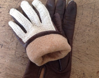 Vintage leather and crochet ladies driving gloves
