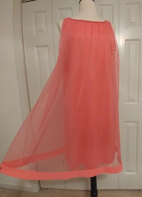 683a65725e7 Vintage 1960s TexSheen Lingerie Hot Pink Chiffon Babydoll