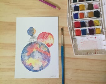 Nebula Three Planets Watercolor Fine Art Print
