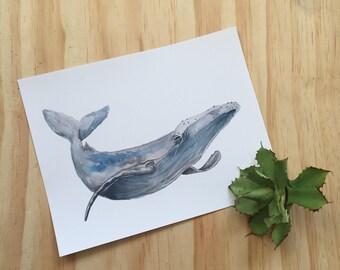 Whale Watercolor Art Print Home Decor