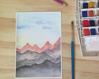 Mountains Watercolor Landscape Fine Art Print