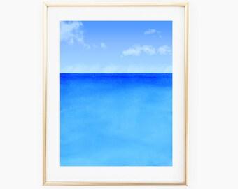 Simple Ocean, Digital Painting, Printable, Digital Download, 8x10, 8.5x11