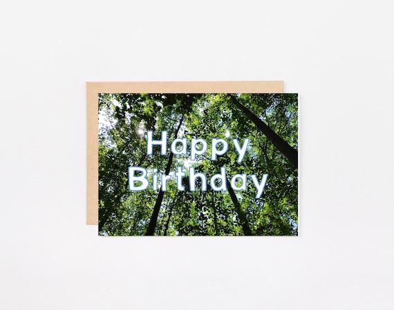 Joyeux Anniversaire Carte Imprimable Foret Arbres Nature Etsy