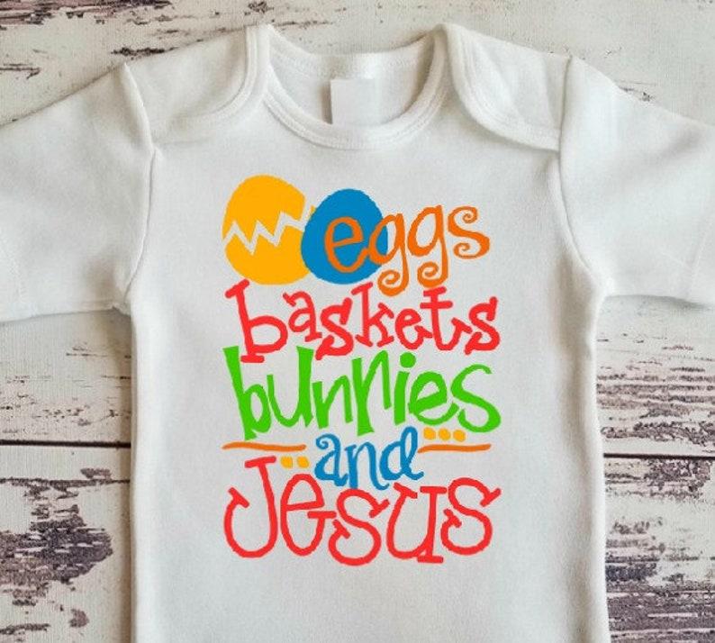 Easter Religious Fun Boy/'s Bodysuit or TShirt Jesus Religious Boy/'s Easter Shirt Bunnies and Jesus Bodysuit Jesus Bodysuit Baskets Eggs