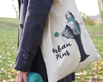 gift for knitters, knitting bag,project bag, tote bag for knitters, Urban Pins tote