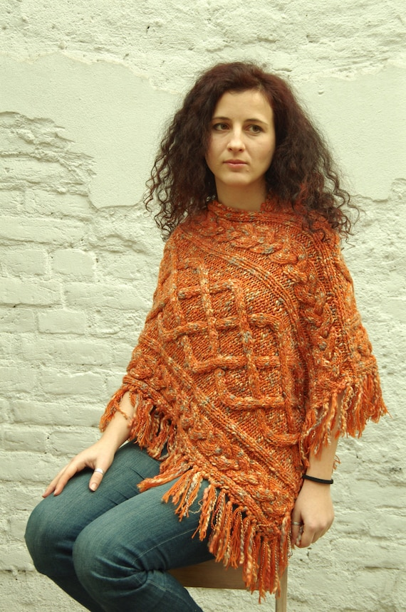 wool fringe knit throw cable poncho women's L over poncho size M orange braid HtnFxZFq