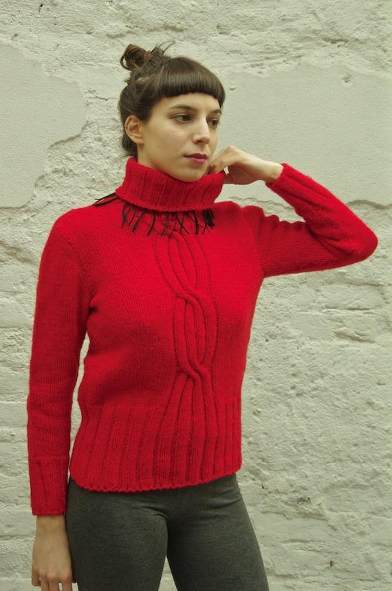 rote Rollkragen Pullover Damen Fransen Pullover Rolle Hals Pullover, Größe M S, Zopfmuster, Upcycled Wolle