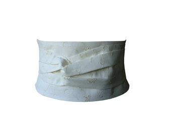 Wide belt obi fabric ecru embroidered Aelig