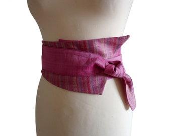 Pink Kiran asymmetrical silk obi belt