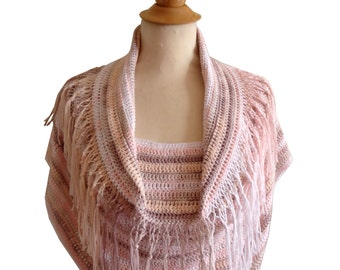 Sweater poncho crochet New_eyes pink white and beige