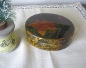 Vintage Wood Lacquer Enameled Keepsake Trinket Box