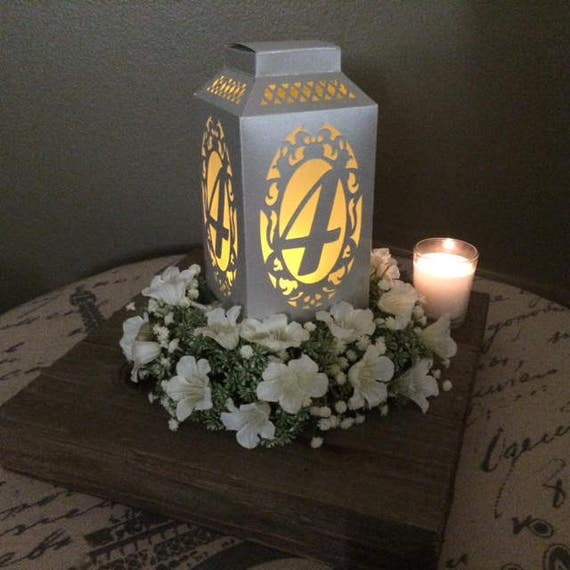 Table numbers paper lantern wedding centerpiece