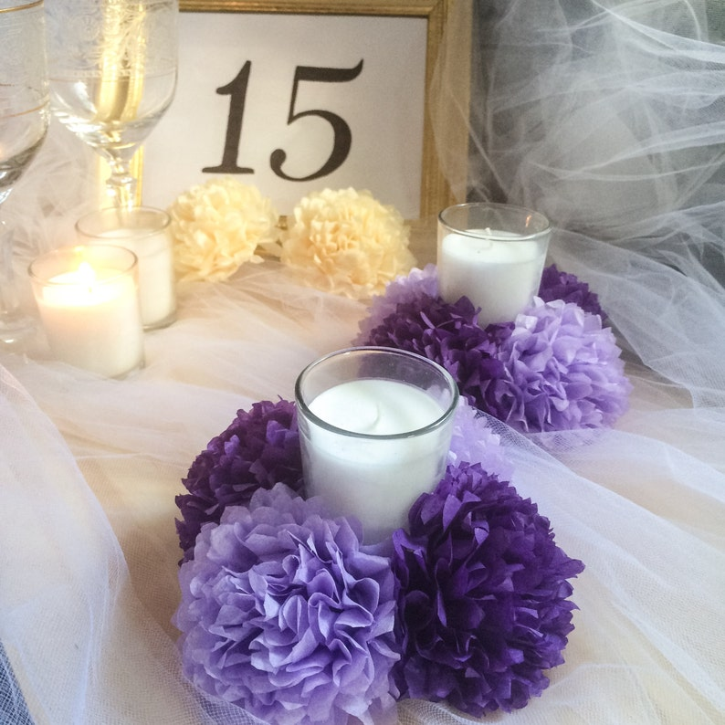 Tissue Paper Flowers Set Of 4 16 Pc Flowers Set Of 6 24 Pc Flowers Tissue Pom Poms Candle Holder Purple Lilac