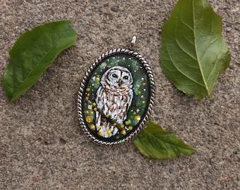 Owl, Original oil painting necklace