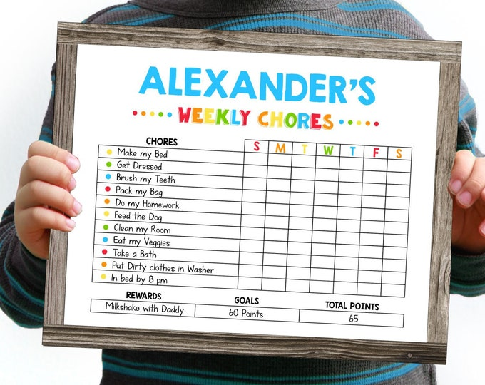 Editable Chore Chart for Kids, Printable by you with Corjl, Instant Access, DIY Reward Chart, Reusable Weekly Chore Chart, Kids Chore Cart