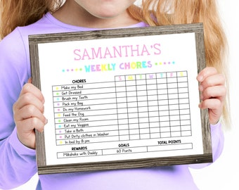 Editable Chore Chart for Girls, Printable by you with Corjl, Instant Access, DIY Reward Chart, Reusable Weekly Chore Chart, Kids Chore Cart