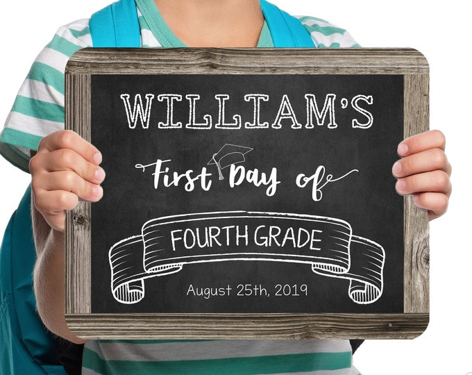Back to School Sign, First Day of School Sign, Change to any Grade, Editable and Printable by you with Corjl, INSTANT DOWNLOAD, Boy or Girl