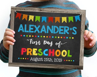 First Day of Preschool Sign, Change to any Grade, Editable and Printable by you with Corjl, INSTANT DOWNLOAD, Digital