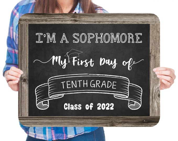 First Day of Tenth Grade Sign, Editable and Printable by you with Corjl, INSTANT DOWNLOAD, I'm a Sophomore Sign