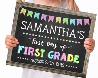 First Day of School Sign for a Girl, Change to any Grade, Editable and Printable by you with Corjl, INSTANT DOWNLOAD, Back to School