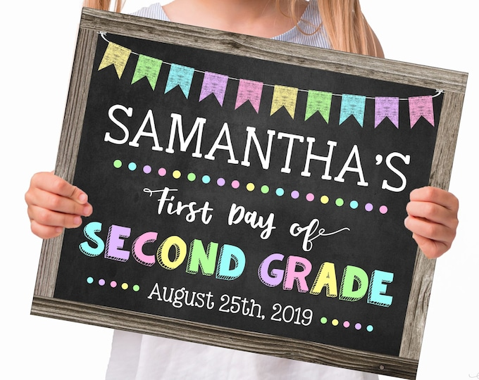 First Day of Second Grade Sign for a Girl, Change to any Grade, Editable and Printable by you with Corjl, INSTANT DOWNLOAD, Back to School