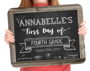 Back to School Sign, Change to any Grade, Editable and Printable by you with Corjl, INSTANT DOWNLOAD, First Day of Fourth Grade Sign