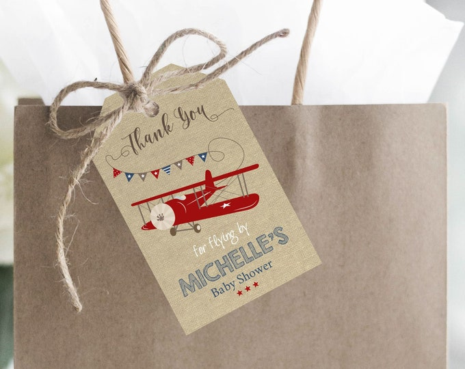 Airplane Baby Shower Favor Tags, Instant Access, Editable and Printable by you with Corjl, Airplane Thank You Tags, Airplane DIY Printables