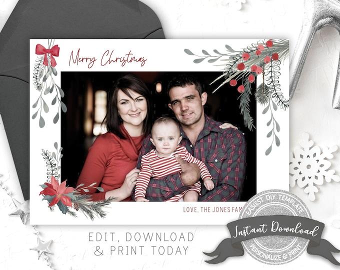 Photo Christmas Card | Editable Merry Christmas Photo Card