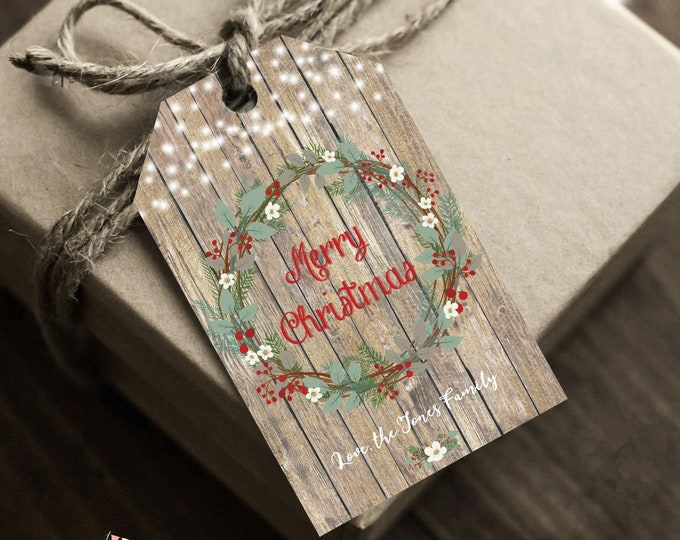 Rustic Christmas Gift Tags, Instant Access, Editable and Printable by you with Corjl, Personalized Christmas Tags, Merry Christmas Tag