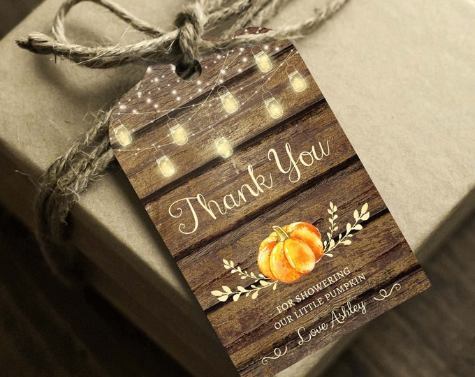 Pumpkin Baby Shower Thank You Tags, Instant Access, Editable and Printable by you, Little Pumpkin Tags, Gender Neutral Thank You Cards