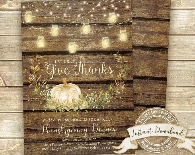 Rustic Thanksgiving Invitation, Thanksgiving Dinner Invitation, Instant Download, Editable Thanksgiving Invite, Printable Give Thanks Invite