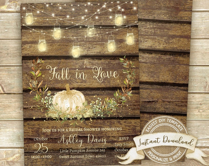 Fall Bridal Shower Invitation, Instant Download, Editable & Printable by you, Rustic Shower Invite, DIY Autumn Bridal Shower Template,