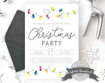 Christmas Party Invitation | Minimalist Christmas Invitation | Christmas Lights Invite