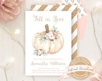 Fall Bridal Shower Invitation, Instant Access, Editable by YOU, Printable Floral Pumpkin Bridal Shower Invite, Autumn Fall in Love Template