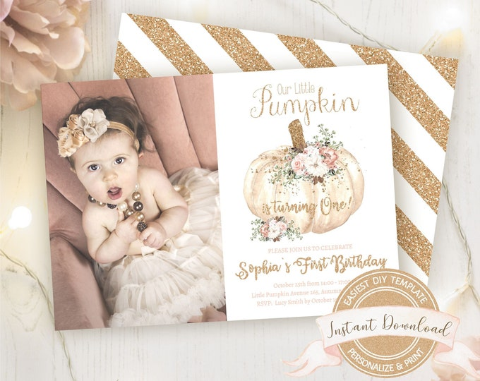 Our Little Pumpkin is turning One Invitation with Photo, Fall Birthday Photo Invitation, Instant Download, Editable & Printable by You
