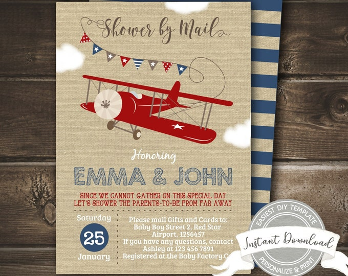 Shower by Mail Invitation, Airplane Baby Shower Invitation, Editable Social Distance Invite, Instant Access, Printable, EDIT NOW with Corjl