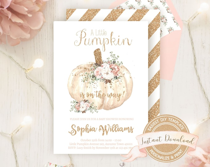 Floral Pumpkin Baby Shower Invitation, Instant Download, Editable Printable by you, Fall Baby Shower Invite, A Little Pumpkin is on the Way