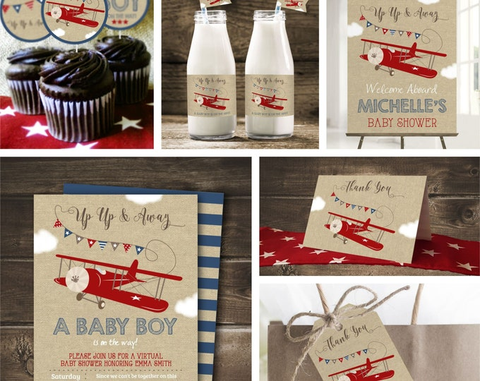 Airplane Baby Shower Decorations, Digital Boy Baby Shower Theme, Editable by you with Corjl, Instant Download, Airplane Baby Shower Games