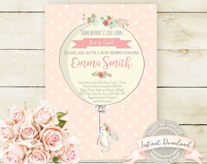Bunny Baby Shower Invitation, Instant Download, Editable and Printable by you with Corjl, Girl Baby Shower Invite, Some Bunny is due soon